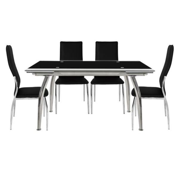 Комплект за хранене - Маса и столове Ким в черно