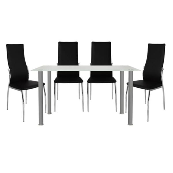 Комплект за хранене - Маса Алън и столове Ким в бяло