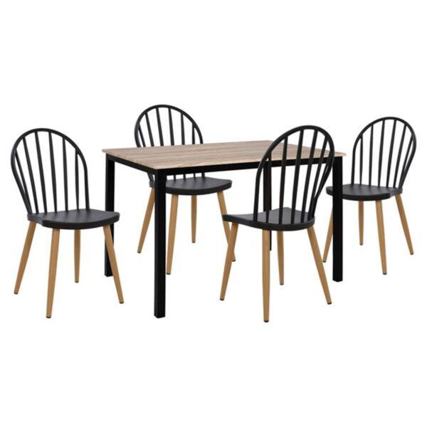 Комплект Маса цвят сонама с черни крака и черни полипропиленови столове