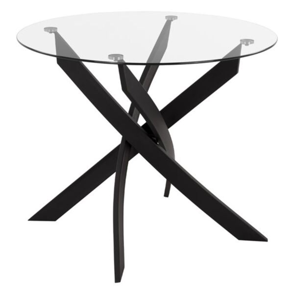Кухненска маса от черен метал със стъкло