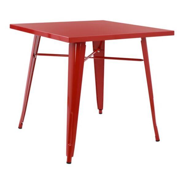 Трапезна метална маса в червено