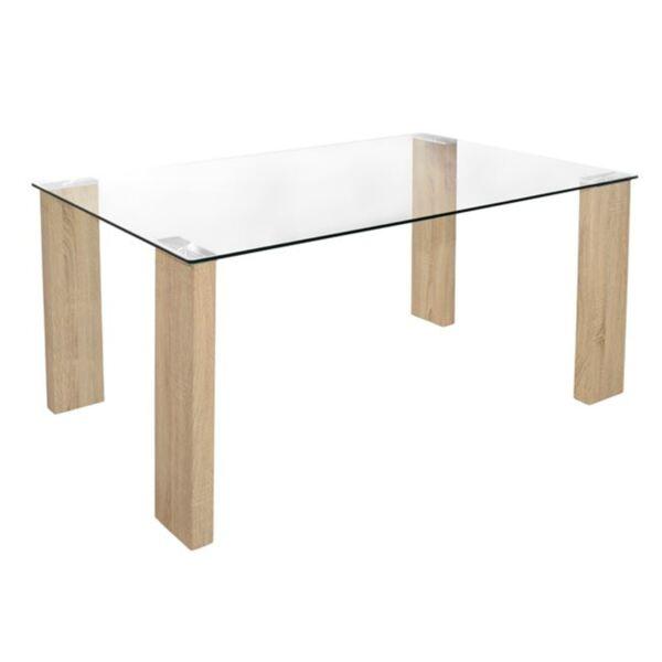 Трапезна маса Morgan стъкло с дървени крака