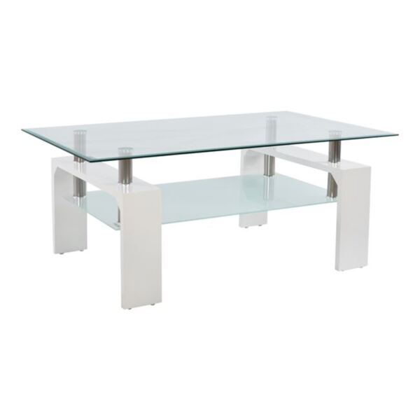 Холна стъклена маса и дърво в бяло