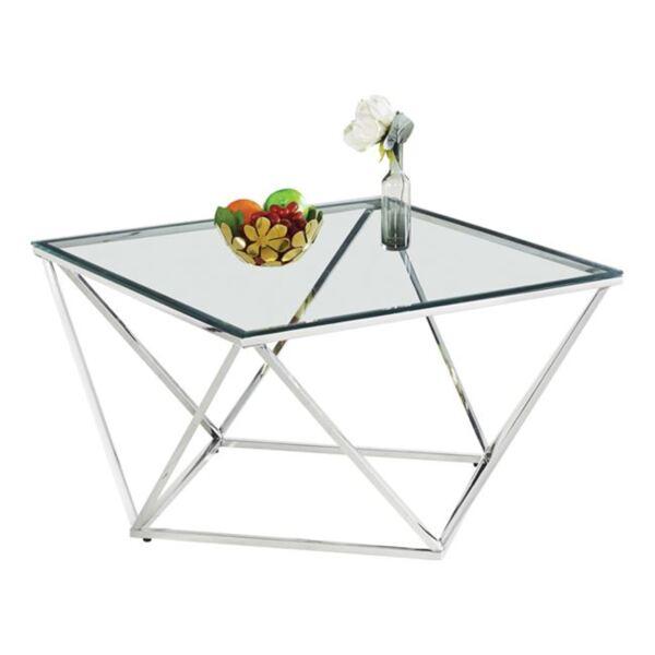 Холна маса Уилоу със стъкло и хромирана основа