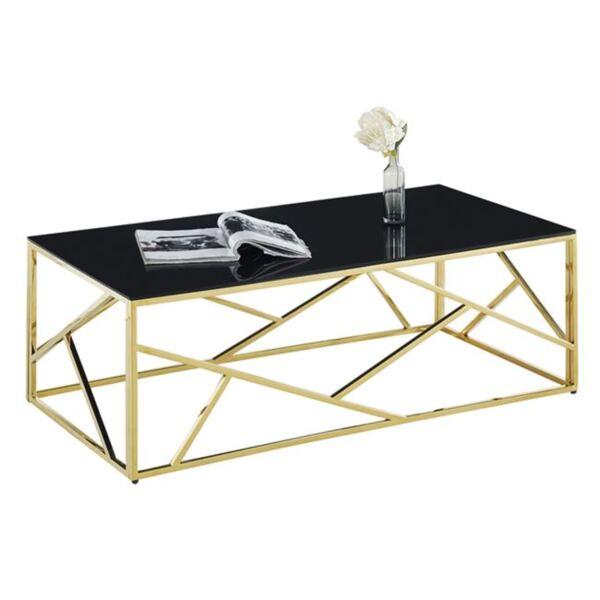 Холна маса JANA с черно стъкло и позлатена рамка О