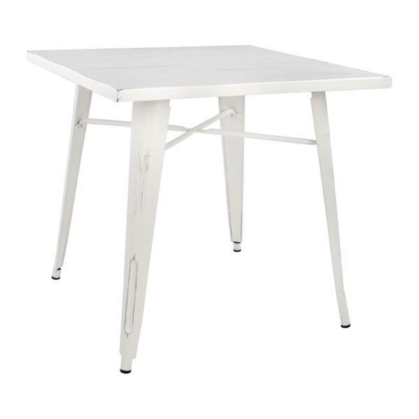 Трапезна метална маса с бял цвят