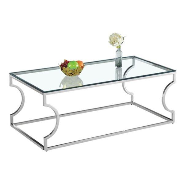 Холна маса Amara със стъкло и хромирана основа