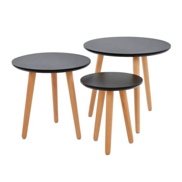 Холна маса 3бр. в черен цвят с дървен крак