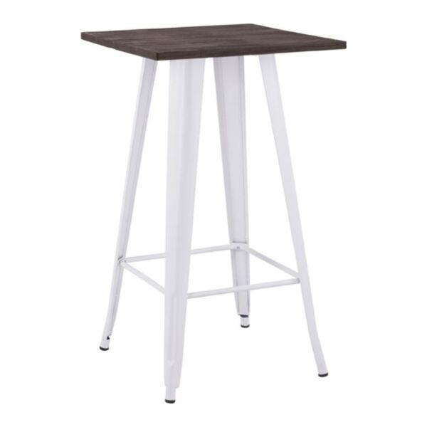 Бар маса с бял цвят и дърво