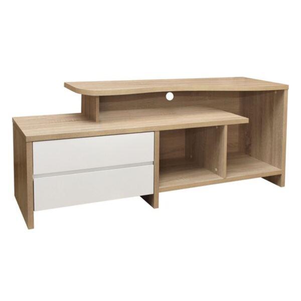 TV шкаф чекмеджета цвят сонама / Бял