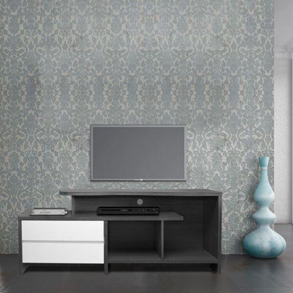 TV шкаф чекмеджета сив / бял