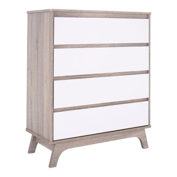 Чекмедже Karla цвят сонама с чекмеджета с бял цвят