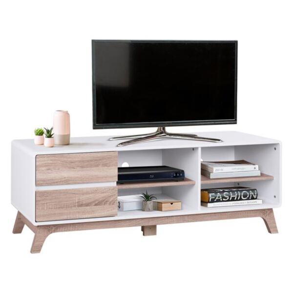 TV шкаф Данте в бяло и цвят сонама
