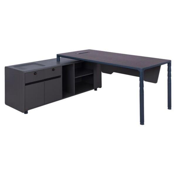 Офис бюро с в сиво и цвят Венге
