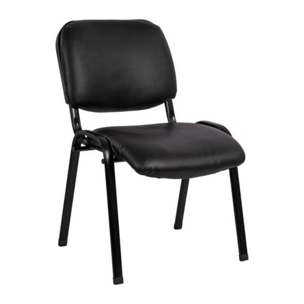 Посетителски стол в черен цвят PU