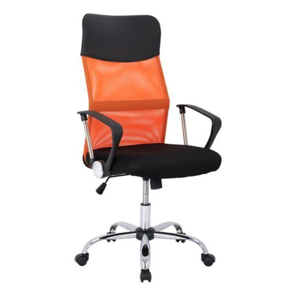 Черен офис стол с оранжево Mesh хромирани крака