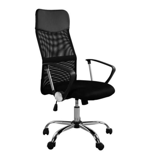 Офис черен стол Mesh и хромирана основа