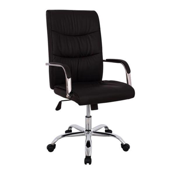 Офис черен стол мениджър с хромирана основа