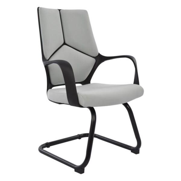 Посетителски сив стол с черна рамка