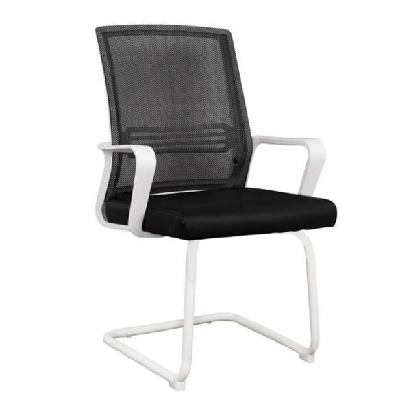 Офис стол с бяла рамка и черен плат