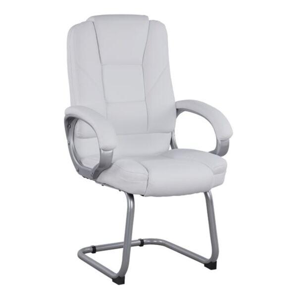 Посетителски стол с бял цвят PU Сора