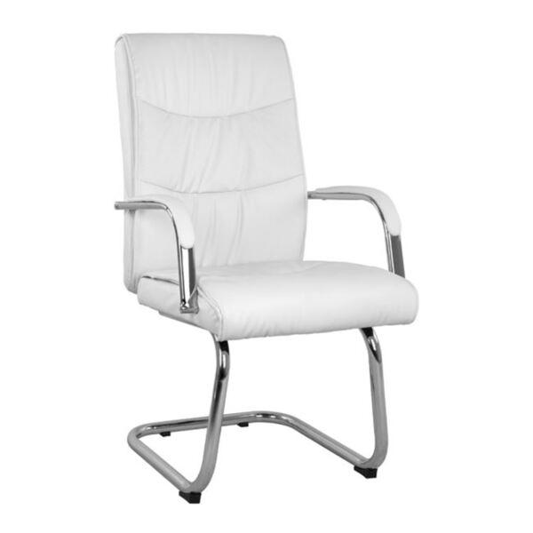 Бял посетителски стол с хромирана основа Джулиан