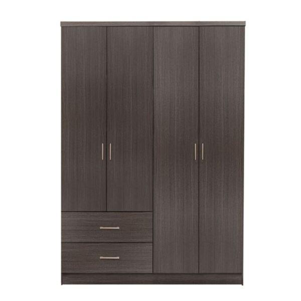 Четирикрилен гардероб с две чекмеджета цвят Зебрано