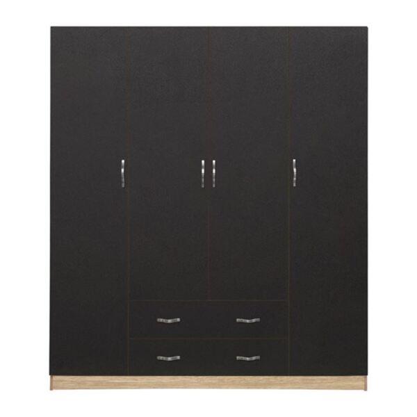 Четирикрилен гардероб с чекмеджета цвят сонама/сиво