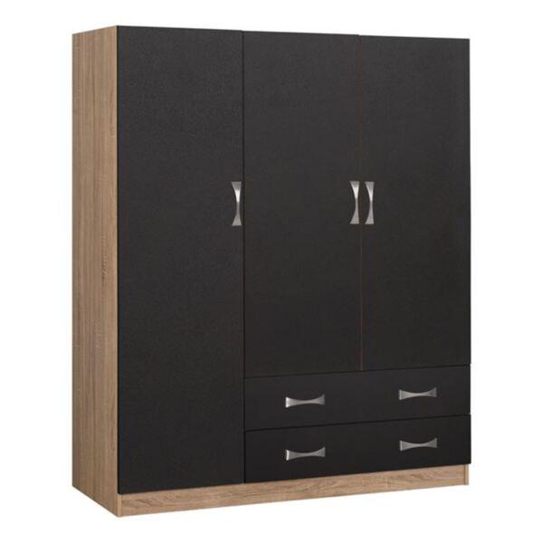 Трикрилен гардероб Карли с чекмеджета цвят сонама/сиво