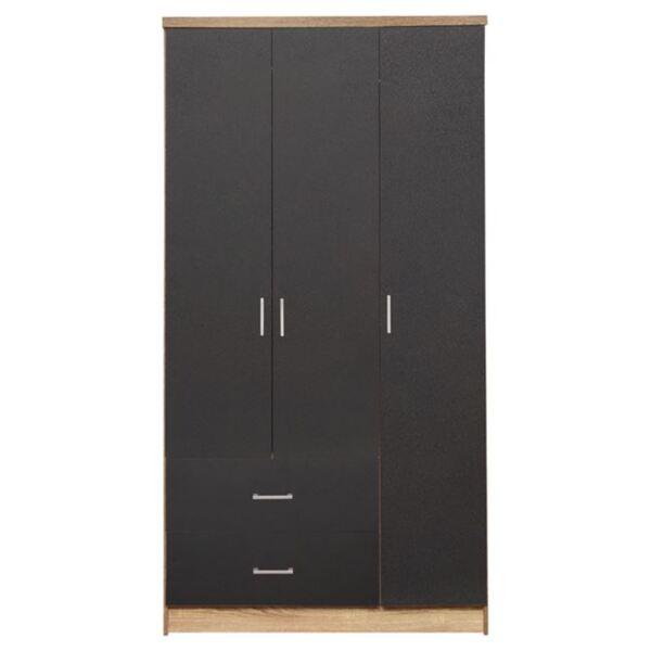 Трикрилен гардероб с чекмеджета цвят сонама