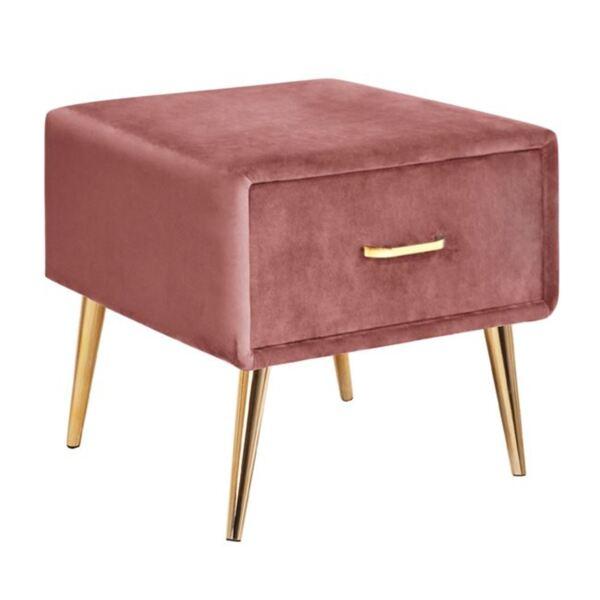 Нощно шкафче Adante розово кадифе със златни крака