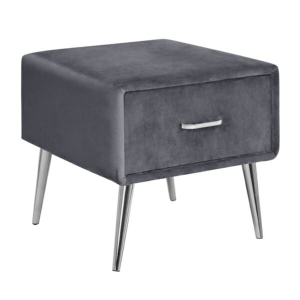 Нощно шкафче Adante от сиво кадифе със сребърни крака