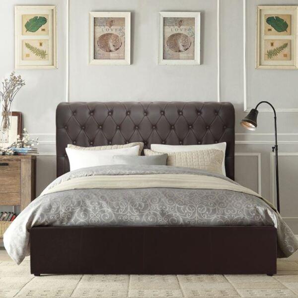 Двойно Спалня Chesterfield тъмно кафяв