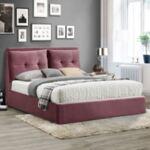 Спалня Били розово кадифе с място за съхранение