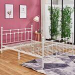 Метална спалня бял цвят