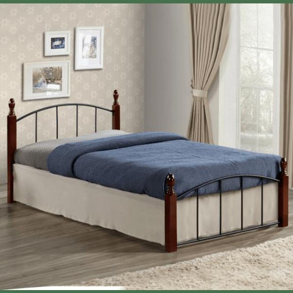 Метална спалня Орех
