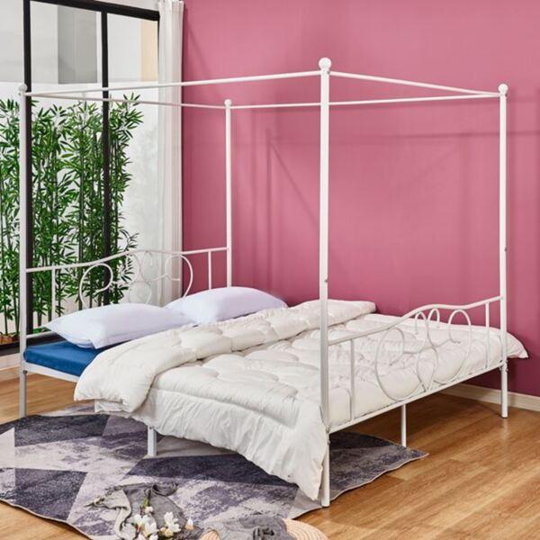 Метална спалня в бял цвят