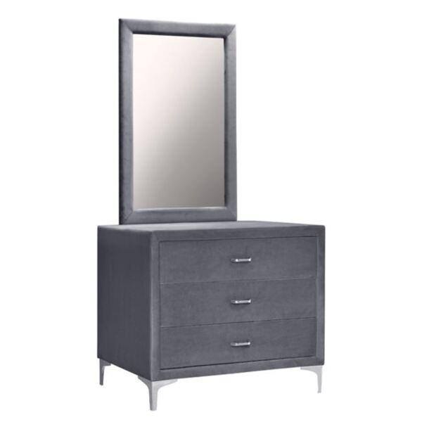 Тоалетка с огледало Лион от сиво кадифе със сребърни крака