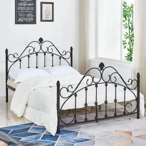 Метална спалня в черен цвят 150/200см