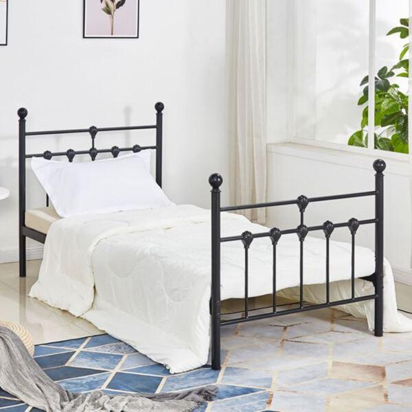 Метална спалня Черно / бяло 90/190см