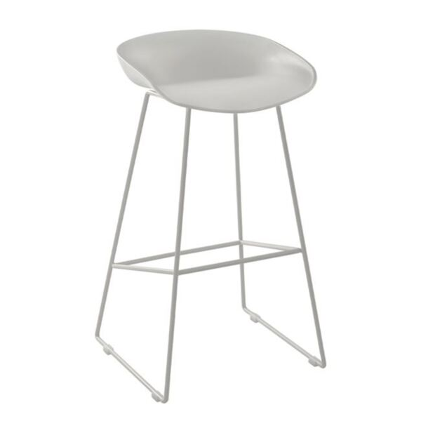 Метална табуретка със седалка PP Бяла