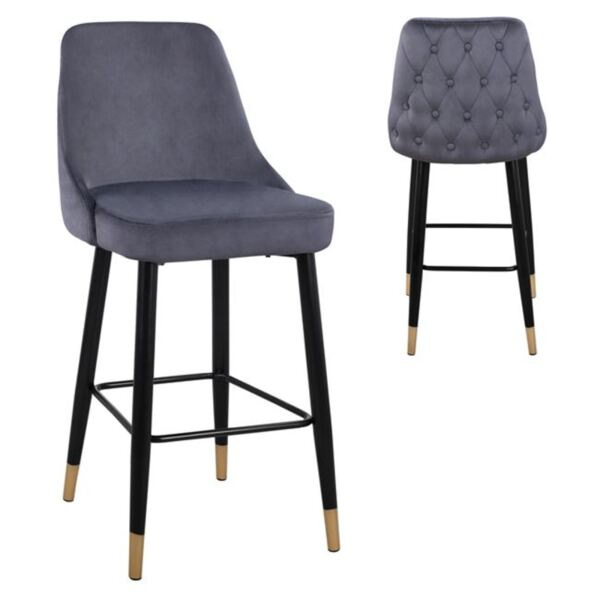 Бар стол Relax сиво кадифе с метална рамка
