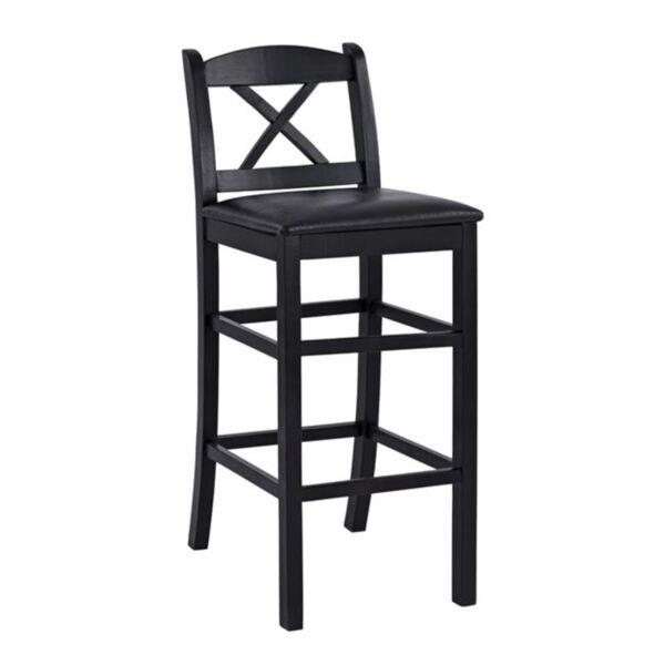 Бар стол Рио Кръстосан от масивно дърво цвят Венге и черен PU