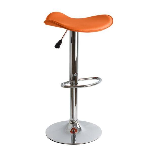 Бар стол оранжев PU с газов механизъм