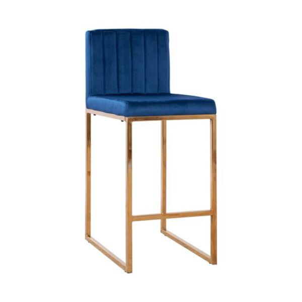 Бар стол Piper синьо кадифе и Gold с метална рамка