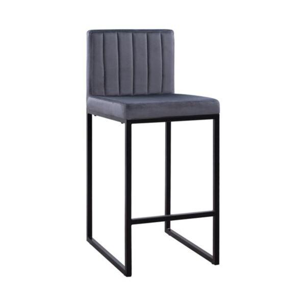 Бар стол Piper сиво кадифео и черна метална рамка