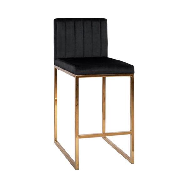 Бар стол Piper черно кадифеи Gold с метална рамка