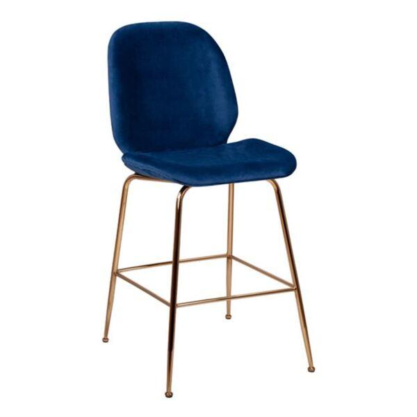 Бар стол Нора синьо кадифе и Gold с метална рамка