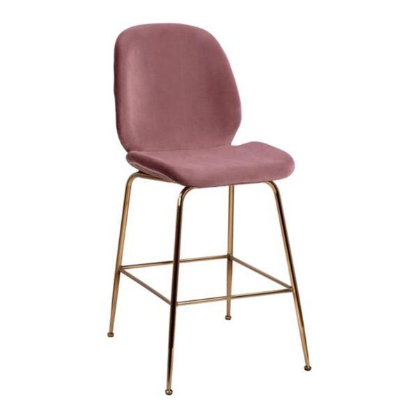 Бар стол Нора розово кадифе и Gold с метална рамка