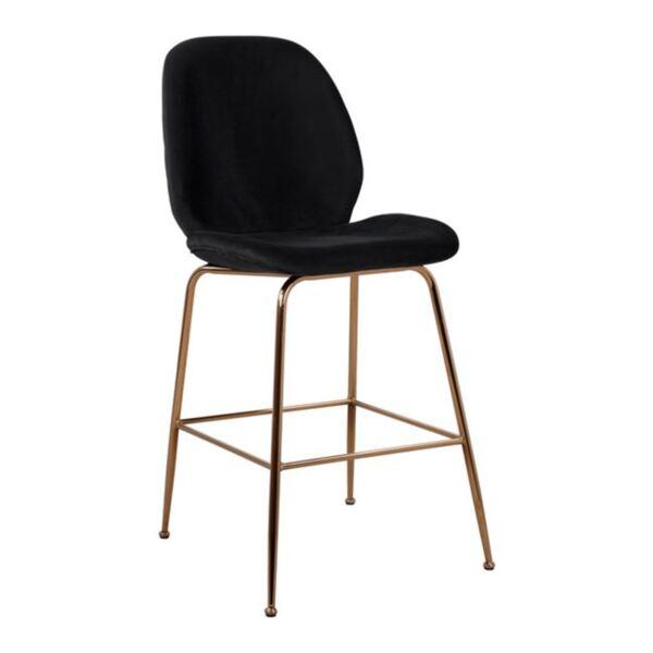 Бар стол Нора черно кадифе и златен метална рамка